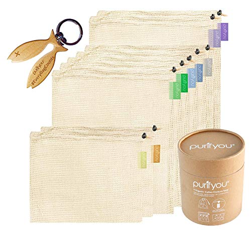 purifyou Premium Reusable Mesh/Produce Bags, Set of 9   Raw, Organic, Unbleached Cotton   Double-Stitched, with Tare Weight on Tags   Large, Medium & Small