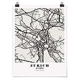 Bilderwelten Poster Cuadro Decoracion de Pared Map Zurich - Classic, Brillante 40 x 30cm