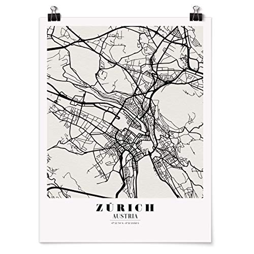 Bilderwelten Poster Wanddeko Kunstdruck Stadtplan Zürich - Klassik Glänzend 40 x 30cm