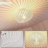 Plafonnier Lepa rond en métal blanc - Abat-jour sphérique créant un jeu de lumière au plafond - Pour chambres à...