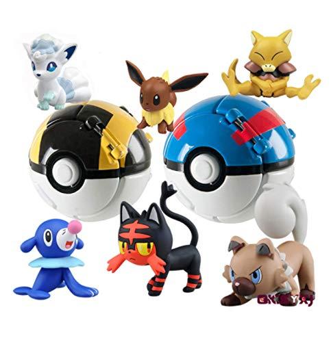 Klycbds 6 Stück / Set Pokeball Figuren Spielzeug, Ball Pokemon Spielzeug Eevee Vulpix Fennekin Cubone Winzige Figuren Inside Action Model Kindergeschenk