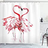 UKSILYHEART Shower Curtain 72x80 Inches Flamingo Bath Curtain, Flamingo Couple Kissing Romance Passion Partners in Love Watercolor Effect, Cloth Fabric Bathroom Decor Set with Hooks, Coral White