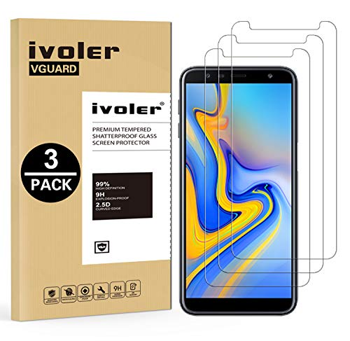 ivoler [Pack de 3] Verre Trempé pour Samsung Galaxy A7 2018 / J6 Plus 2018 / J4 Plus 2018, Film Protection écran en Verre trempé pour Samsung Galaxy A7 2018 / J6+ 2018 / J4+ 2018