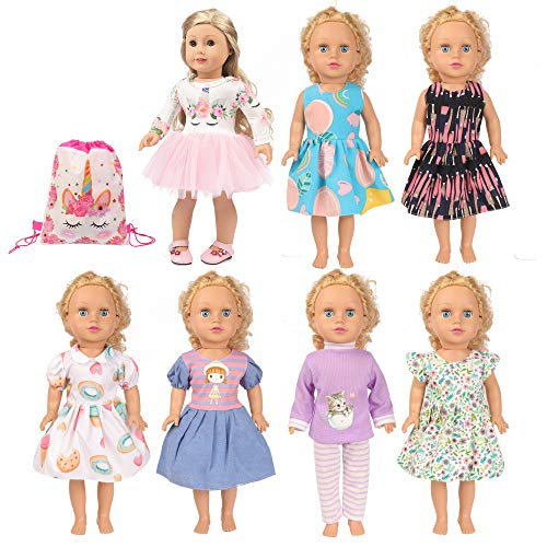 SOTOGO 7 Sets 18 Inch Doll Clothes Doll Outfits Doll Accessories with Storage Bag, Doll Clothes for 18 Inch American Girl Doll
