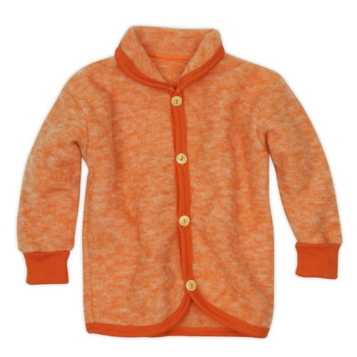 Cosilana Baby Jäckchen mit Rundhals, Größe 86/92, Farbe Safran-Orange-Melange, Wollfleece 100% Schurwolle kbT