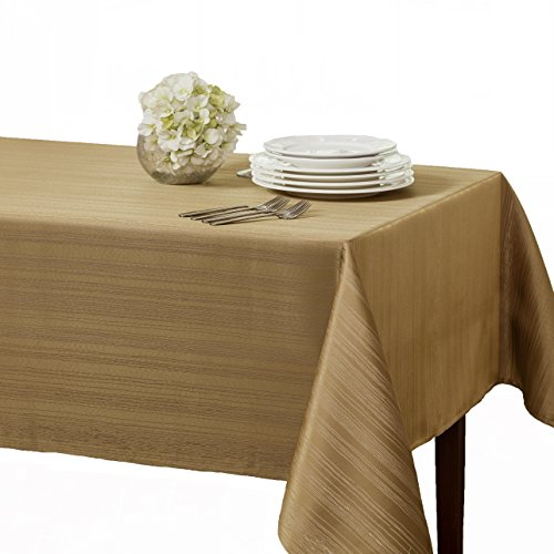 Benson Mills Flow Spillproof Fabric Tablecloth, 60x120, Taupe/Gold