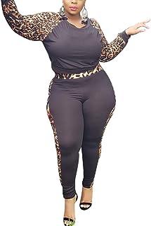 Ophestin Women Plus Size 2 Piece Outfit Print Long Sleeve Top Bodycon Pants Set Tracksuit Sportswear