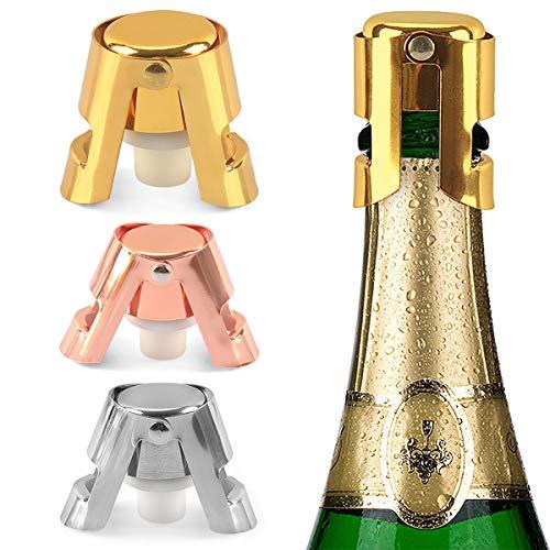 Richaa 3 Pack Champagner Flaschen Verschluss, Edelstahl Flaschenverschluss vakuumversiegelter für frischen Wein, Silber Gold Rosé Gold