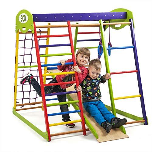 Kinder zu Hause aus Holz Spielplatz mit Rutschbahn ˝Unga˝ Kletternetz Ringe Kletterwand