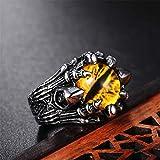Anello in acciaio al titanio, Hip Hop Wizard fantasma occhi rossi maschio e femmina coppia di fidanzamento anello souvenir-giallo-eyes-12
