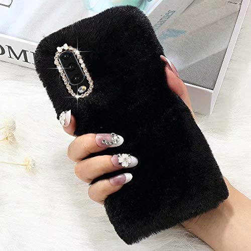 for Samsung Galaxy A20/A30 Case Cute Girly Faux Fur Case with Chic Bling Crystal Diamond Bowknot Flexible Silicon Soft Fluffy Furry Shockproof Protective Phone Case for Samsung Galaxy A20/A30 Black
