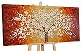YS-Art | Cuadro Pintado a Mano Árbol Afortunado | Cuadro Moderno acrilico | 120x60 cm | Lienzo Pintado a Mano | Cuadros Dormitories | único | Anaranjado