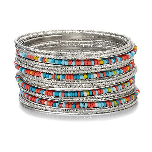 Ensoul Acrylic Pearl-Beads/Glass Seedbeads Mixed Metal Bangles Bracelets for Women Set of 17 Shiny Silver/Multi Color