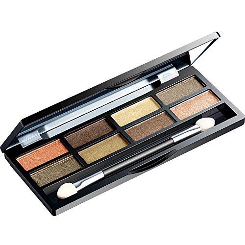 Palette de fard à paupières poudre fine soyeuse 8 couleurs avec pinceau et miroir par KAYI - Gold Earth Tone