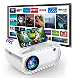 Mini Projector, 6500L WiFi GROVIEW Projector with 100'' Screen, Full HD 1080P and 240' Supported, Synchronize Smartphone Screen by WiFi/USB Cable for Outdoor Movie, Compatible with TV Stick, HDMI,USB