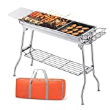 YX-ZD Portable <span class='highlight'>Charcoal</span> <span class='highlight'>BBQ</span> Foldable Stainless Steel Barbecue Grill Smoker Grill, Outdoor Camping Grills <span class='highlight'>for</span> Outdoor Campers, Barbecue Lovers, Travel, Parks, Beaches, Wild