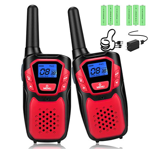 Walkie Talkies for Adult, Rechargeable Long Range Walky Talky Handheld Two Way Radio with NOAA Weather Scan + Alert, 6 1000MAH AA Batteries and USB Charger Included (Red 2 Pack) by topsung technology. Compare B08NT86VRQ related items.