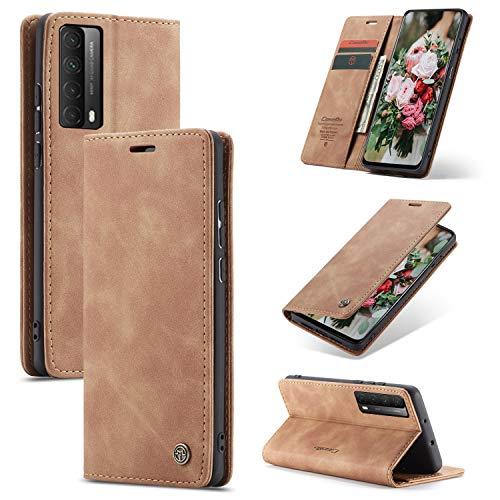FMPC Handyhülle für Huawei P smart 2021/Y7a Premium Lederhülle PU Flip Magnet Hülle Wallet Klapphülle Silikon Bumper Schutzhülle für Huawei P smart 2021/Y7a Handytasche - Braun