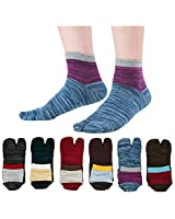 Men's Tabi Flip Flop Socks Athletic Cotton Crew Two Toe for Summer 6 Pack