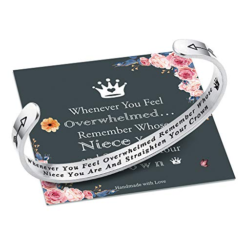 Whenever You Feel Overwhelmed Remember Whose Niece Bracelet Straighten Your Crown Bracelet, Niece Bracelet Gifts from Aunt Quote Engraved Inspirational Gifts for Women Girls Silver Nice Crown Bracelet