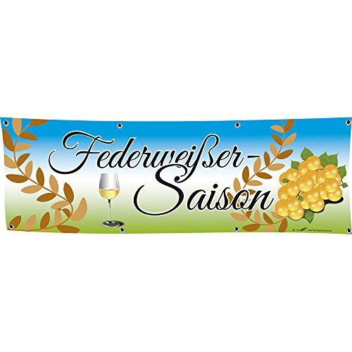 Banner reclamebanner - veerwit seizoen - 3x1m - spanband - 309998