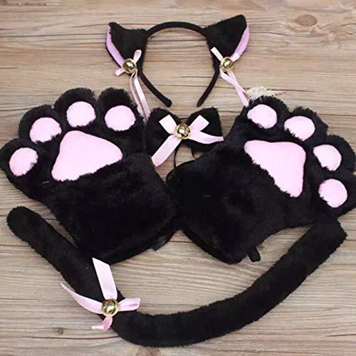 Stella opmerkelijke 5 Stks/Set Kat Cosplay Kostuum Kat Staart Oren Kraag Poten Handschoenen Set Bk