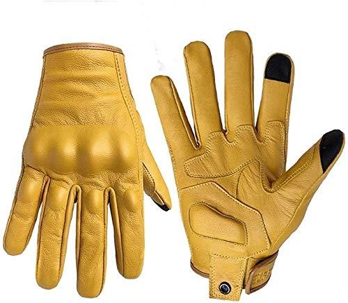 Motorhandschoenen Touchscreen Leer Gele Handschoen Heren Dames Fiets Fietsen Motor Motor Motorcross Handschoenen Voor Motor-Mannen niet geperforeerd_XL Upgrade