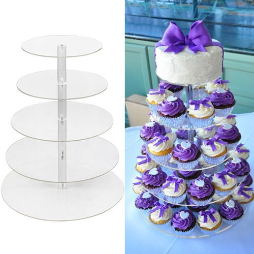 5 Tier Round Clear Acrylic Cupcake Stand Wedding...