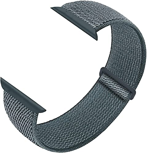 Nylon Sport Loop Band Compatible with Apple Watch Bands 38mm 40mm 42mm 44mm, Women Men Velcro Braided Elastic Wristbands Replacement Band for iWatch Series 6 5 4 3 2 1 SE,(Storm Grey,42mm/44mm)