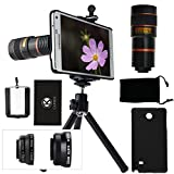 CamKix Camera Lens Kit Compatible with Samsung Galaxy Note 4 incl 8X Telephoto Lens/Fisheye Lens / 2 in 1 Macro and Wide Angle Lens/Tripod/Phone Holder/Case/Bag/Cloth