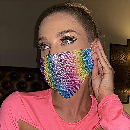 Sparkly Rhinestone Mesh Mask Crystal Masquerade Ball Party Nightclub Carnaval Halloween Costume Mask for Women and Girls (Rainbow)
