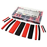 Set de 142 piezas de tubo termorretráctil 3:1 negro y rojo con pegamento interno. Longitud total de 8,3 m en una práctica caja. De ISOLATECH