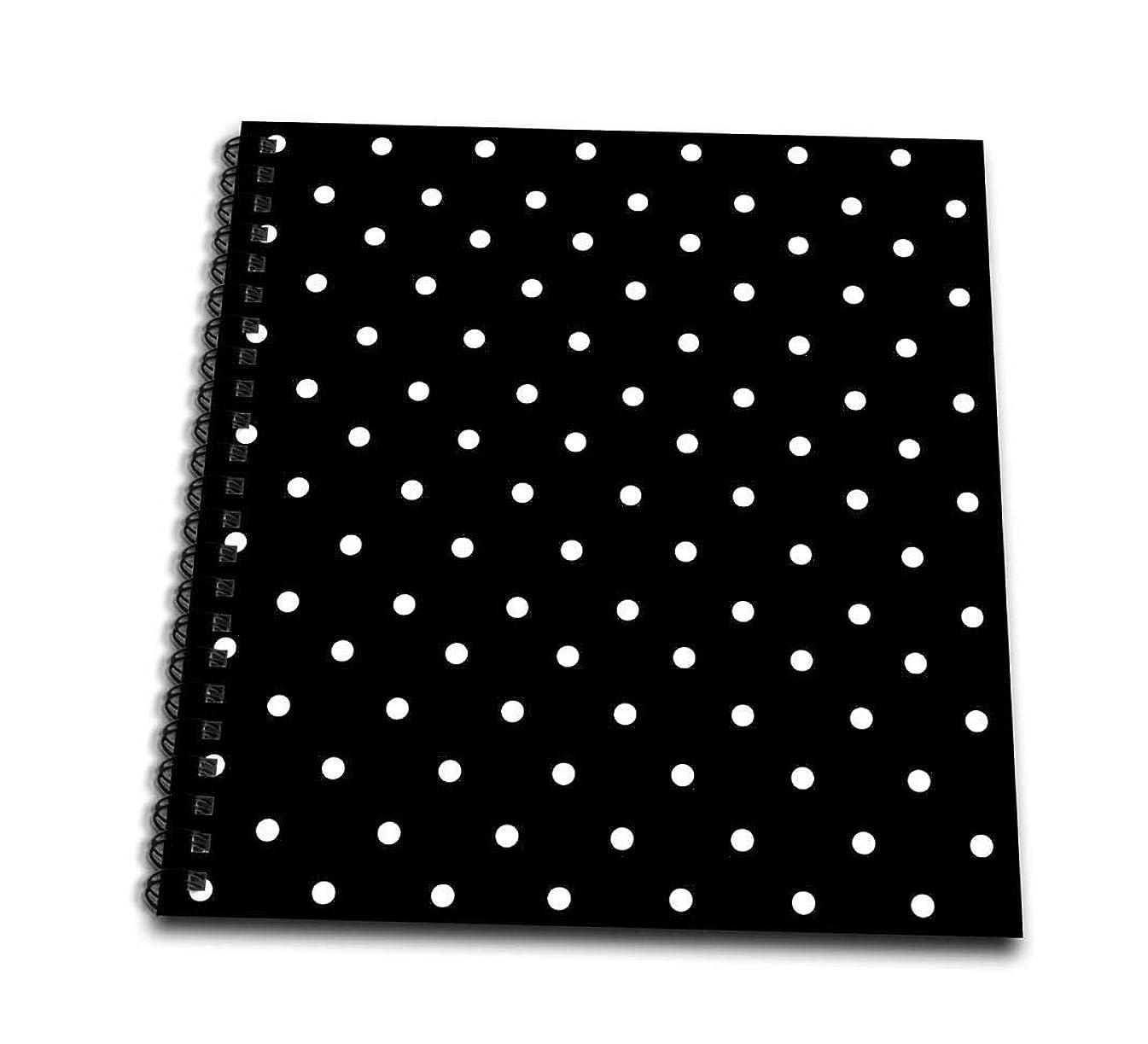 3dRose Black and White Polka Dot Pattern-Small Dots-Stylish Classic-Classy Elegant Retro Dotty Spotty-Memory Book, 12 by 12
