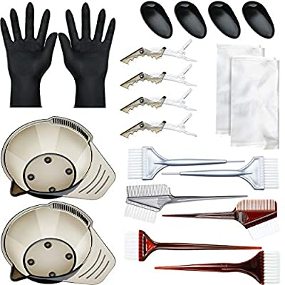 20 Pieces Hair Dye Coloring Kit Hair Tinting Bowl Mixing Bowl, Dye Brush, Ear Cover, Gloves for DIY Salon Hair Coloring Bleaching Hair Dryers Hair Dye Tools (16.5 x 5.3 cm Bowl)