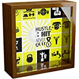 Wall Decor Coach Gifts | Bodybuilder Gift | Shadow Box Bank for Sports Coaches | Wooden Hustle Quote Frames with Glass Front | Home Gym Decorations | Great Sport Gift to Collect Special Memories