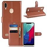 HERCN Leagoo M11 6.18' Funda, Premium Slim Flip Case de PU Cuero con Ranura para Tarjetero,Cierre Magnético y Función de Soporte Case Cover para Leagoo M11 Smartphone (Marrón)