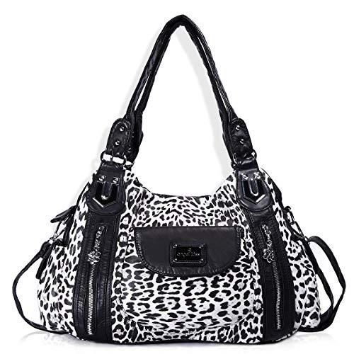 Damen-Handtasche im Hobostil, geräumig, mehrere Fächer, Schultertasche, modisch, PU, Totebag, Umhängetasche für Damen, Weiá (Ak812-2z White Leopard), Large