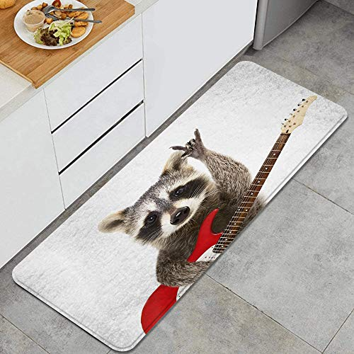 MISCERY1 Portrait of a funny raccoon with electric guitar showing a rock gesture Anti Fatigue Kitchen Mat Comfort Standing Mat Non-Slip Kitchen Rug