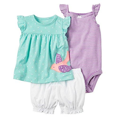 Odziezet Completini e Coordinati Estivi da Neonata di Cotone Magliette a Manica Corta a Fiore + Pantaloncini + Pagliaccetti 3 Pezzi 0-24 Mesi