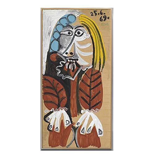 Pablo Picaso Famosos Arte Pinturas Imprimir sobre Lienzo Abstracto Figura Arte Poster Y Impresiones Abstracto Mujer Pared Arte Cuadros Hogar Decoracion 40x80cm No Marco