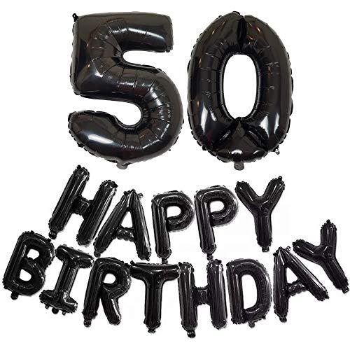 DIWULI, Figuras con Globos XXL Globo + Feliz cumpleaños, Globos s, Papel de Globos Hermosas ID Nº años, Globos de película para cumpleaños, celebración decoración de Regalo (50: Cincuenta)