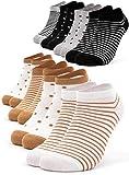 Occulto 8 Paar Damen Sneakersocken Füßlinge mehrfarbig mit Streifen & Punkten 39-42, Schwarz-gelb