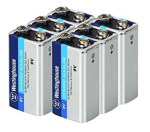 Westinghouse Alkaline 9V Batteries (Bulk Pack 6 Count), Leak-Proof & Long-Lasting Technology 9V Primary Batteries with Lasting Power for High Drain Devices