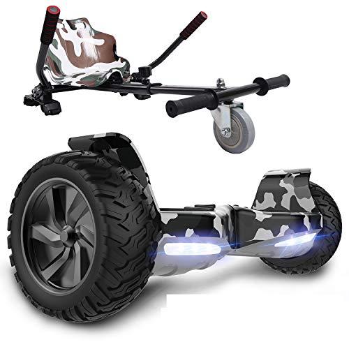 GeekMe Patinete Eléctrico Todo Terreno de 8,5 '' Scooter Equilibrado con Potente Motor Bluetooth + Hoverkart Accesorio para Patinete Eléctrico