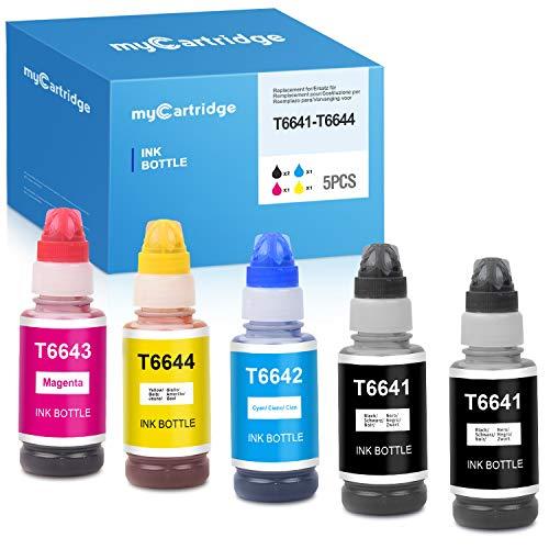 MyCartridge Tinte kompatibel für T664 (T6641 T6642 T6643 T6644) für EcoTank ET-2650 ET-2600 ET-2550 ET-2500 ET-4500 ET-4550 L355 L382 70ml 5 Pack
