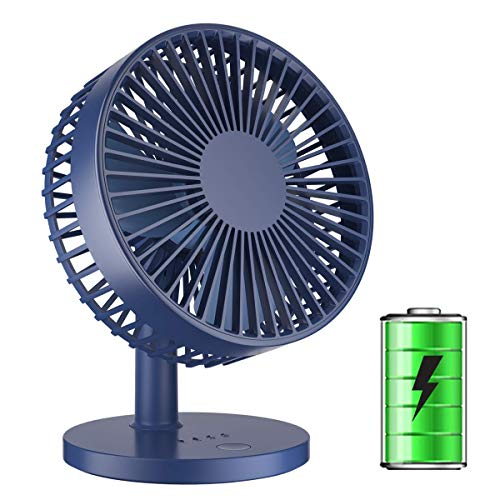 TriPole Desk Fan Table Fan with Strong Wind 2000mAh Rechargeable Battery Operated Small Portable Fan 7 Inch Mini USB Fan 3 Speed Adjustable Head Rotatable Quiet Personal Fan for Home Office, Deep Blue