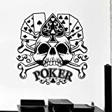 SUPWALS Pegatinas de pared Poker Wall Decal Cards Gambling Gambler Skull Bone Estilo Fresco Puerta Ventana Vinilo Adhesivo Hombre Cave Casino Club Decoración Interior 28X28Cm