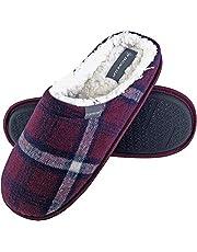Dunlop - herr varm plysch fleece fodrad slip on mule rutig hus tofflor