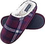 Dunlop - Uomo Invernali Calde Termiche Pantofole con Classiche Quadri per Casa (47 EU, 7179 Red)