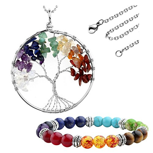 Jovivi Orecchini, Bracciale Unisex, Terapia energetica Reiki Pietre Chakra + Ciondolo e Collana dell'albero della Vita